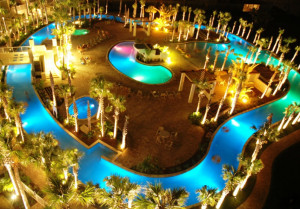 Nighttime on the lazy river Destin West Beach & Bay Resort